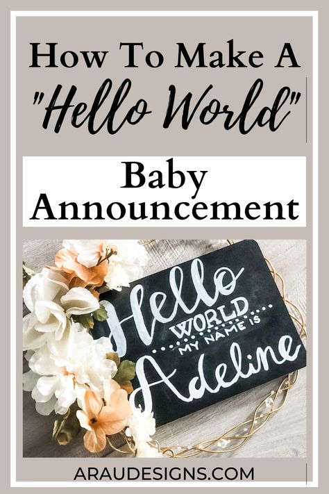 DIY Chalkboard Baby Announcement Sign by AraUDesigns DIY Crafts for Wedding, Baby, and Home Decor. Need a cute idea for your due date announcement? Ready to announce to your family and friends your baby's name or gender? This DIY Chalkboard sign is a perfect idea! Whether you want to announce in fall or during Christmas, this sign is a great way to welcome your new bundle of joy with your kids, dogs, and cats! Visit Araudesigns.com for more details! #araudesigns #babyannouncement #diy #baby