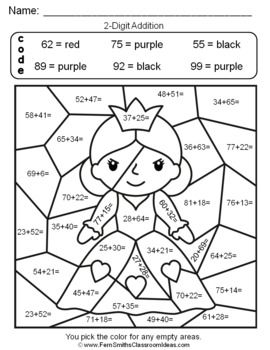 2nd Grade Go Math 4 6 2 Digit Addition Color By Numbers