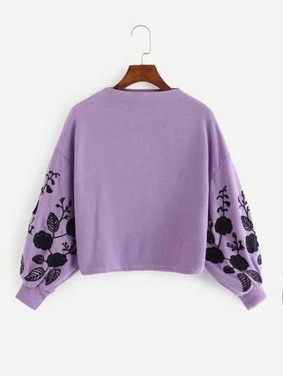 Romwe Womens Loose Embroidery Lantern Sleeve Pullover Sweatershirts