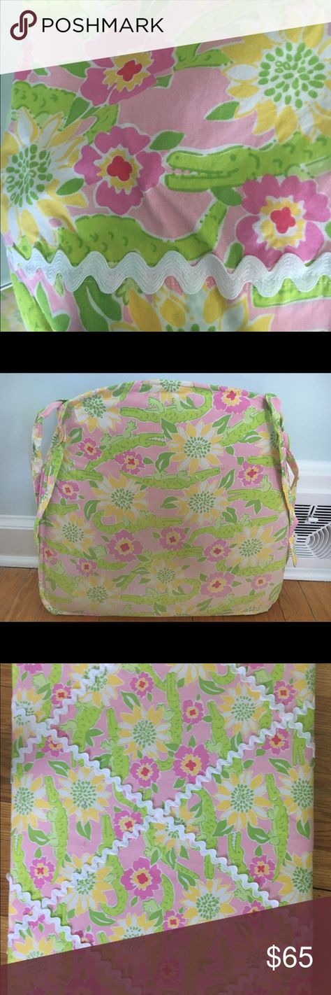 Lily Pulitzer Alligator Bedding Set This set of a twin size bed skirt, seat cushion and wall organizer are hand made using authentic Lilly Pulitzer fabric. Seat cushion shows signs of wear but bed skirt and wall/desk bulletin board organizer are in great shape. Set of three is perfect for a young girls room. Lilly Pulitzer Other