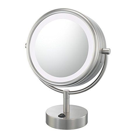 Kimball Young 72575 Double Sided Neo Modern Led Vanity Lighted Mirror 1x And 5x Magnification Brushed Nickel Review Led Vanity Lights Led Makeup Mirror Mirror With Lights