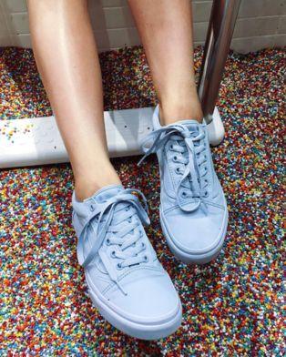 vans old skool trainers in pastel blue mono leather