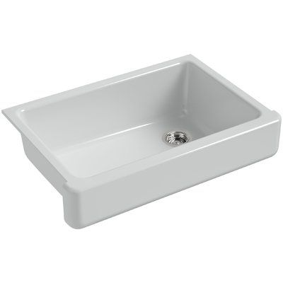 Kohler Whitehaven Self Trimming 32 1 2 L X 21 9 16 W X 9 5 8 Under Mount Single Bowl Sink With Short Apron Finish Ice Grey Sink Kohler Whitehaven Cast Iron Farmhouse Sink