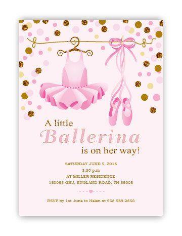 Little Ballerina Girl Baby Shower Invitation Tuttu And Poem Etsy Ballerina Baby Shower Invitations Ballerina Baby Showers Ballet Baby Shower