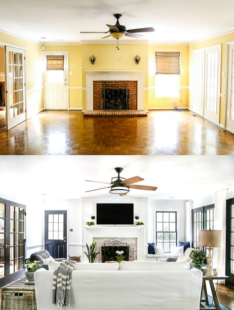 dirty and tired orange brick fireplace gets a brightened up, weathered lime washed brick makeover, plus a full tutorial to do it yourself. Welp… I finally worked up the nerve… Living Room Remodel, Home Living Room, Old House Remodel, Ranch House Remodel, Condo Remodel, Diy Kitchen Remodel, Home Staging, House Makeovers, House Ideas