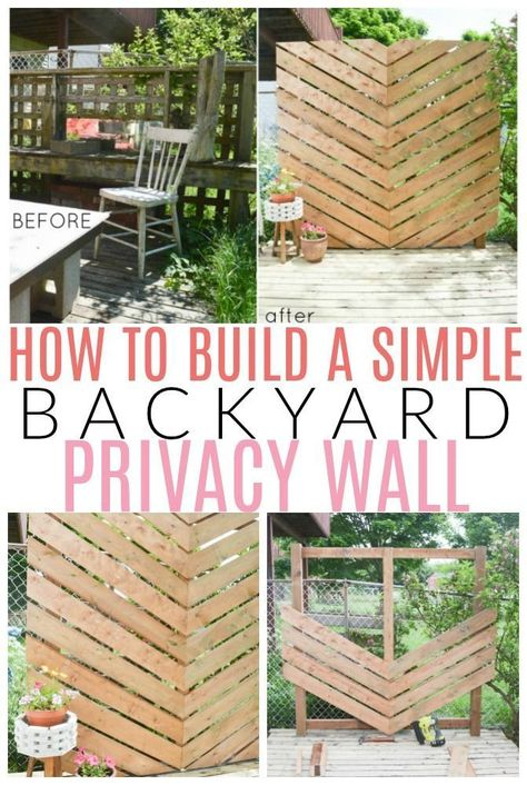 How to Build a Simple Chevron Outdoor Privacy Wall 2019 Learn how to DIY a makeover of your backyard or patio with this backyard privacy wall tutorial. The post How to Build a Simple Chevron Outdoor Privacy Wall 2019 appeared first on Backyard Diy. Outdoor Screens, Outdoor Privacy, Privacy Ideas For Backyard, Deck Privacy Screens, Privacy Wall On Deck, Diy Privacy Fence, Privacy Landscaping, Private Patio Ideas, Outdoor Patios