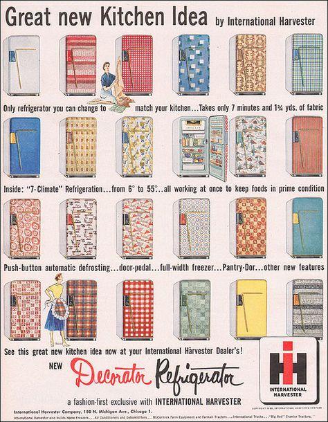 1953 Matchy Matchy Refrigerator    Source: Better Homes & Gardens. International Harvester built refrigerators too!
