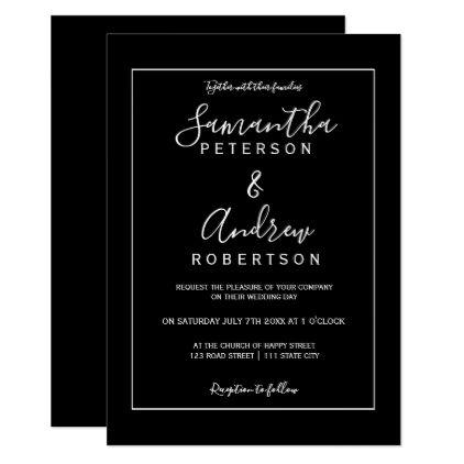 Simple Black White Typography Frame Wedding Invitation Zazzle