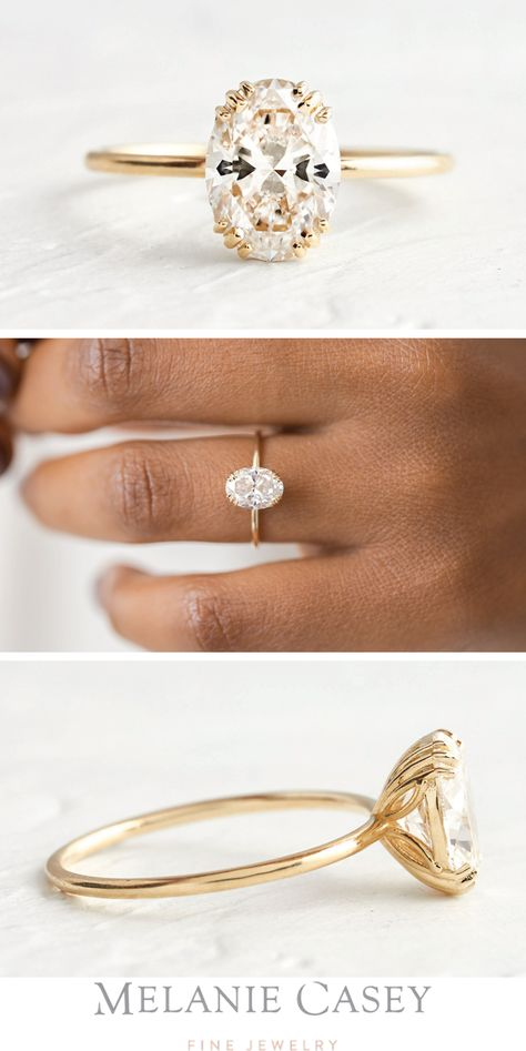 UNVEILED RING 1.5ct. Oval Cut Diamond, 14k Yellow Gold Thin Band Engagement Ring