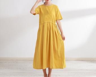 Summer Cotton Dress Long Soft Short Sleeves Tunics Casual Loose Midi Dresses Customized Plus Size Clothing Linen