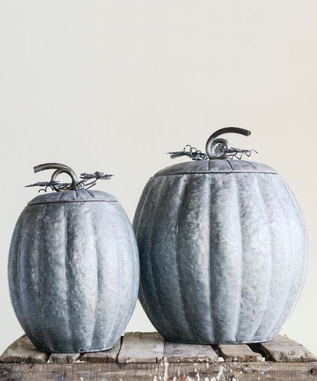 Metal Pumpkin Container Set Of Two Zulily Metal Pumpkins Container Set Pumpkin