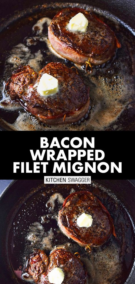 Bacon-Wrapped Filet Mignon with Truffle Butter Recipe - Pan-seared filet mignon wrapped in crispy bacon and topped with homemade truffle butter. Bacon Wrapped Filet Mignon Recipe, Pan Seared Filet Mignon, Bacon Wrapped Steak, Filet Mignon Steak, Steak Wraps, Bacon And Butter, Cooking The Perfect Steak, Truffle Butter, Quirky Cooking