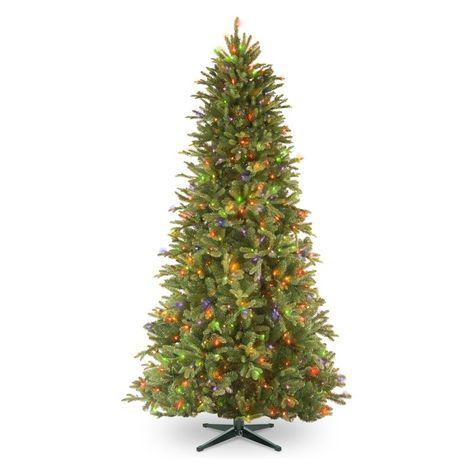 National Tree Company Feel Real Tiffany Memory Shape Slim Pre Lit Christmas Tree Pe Slim Artificial Christmas Trees Fir Christmas Tree Pre Lit Christmas Tree