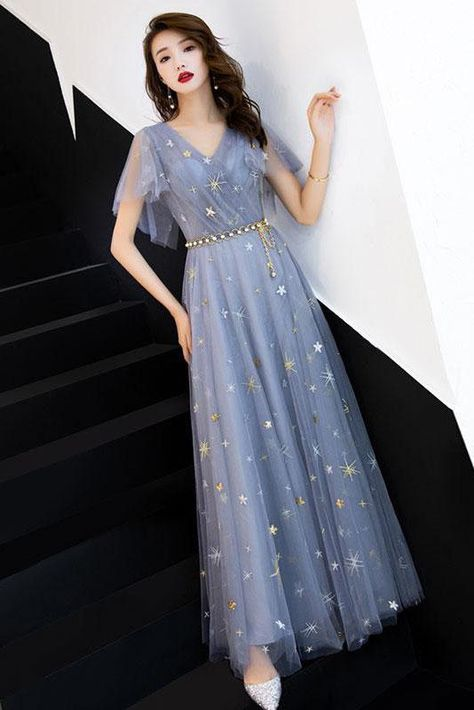 A Line V Neck Long Prom Dresses, Short Sleeves Long Formal Dresses, Dance Dresses P1051 - US2 / Red
