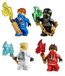 LEGO LOT OF 3 NINJAGO MINIFIGURES JAY KAI ZANE ZX NINJAS RED BLUE WHITE FIGS