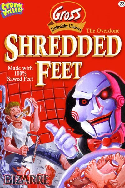 Cereal Killers Horror themed cereal box art by Joe Simko Shredded Feet