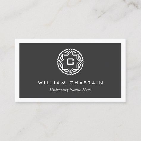 Initial Logo For Students University Black Calling Card Zazzle Com Initials Logo Black Business Card Modern Business Cards