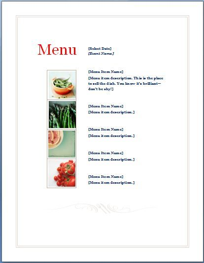 Sample Event Menu Planner Template Are you responsible to - sample menu template