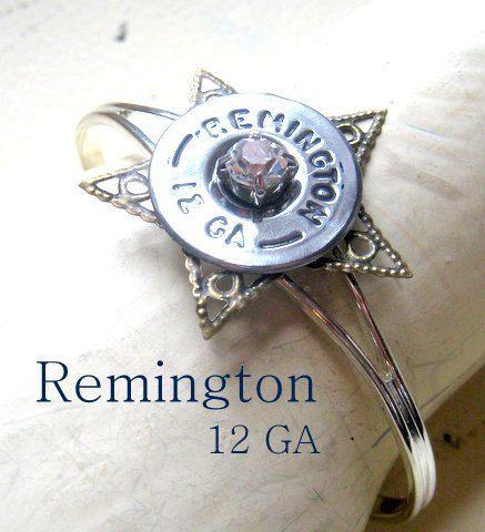 Bullet bracelet Remington 12 GA shotgun shell bracelet bullet casing filigree star cuff bracelet vintage rhinestone