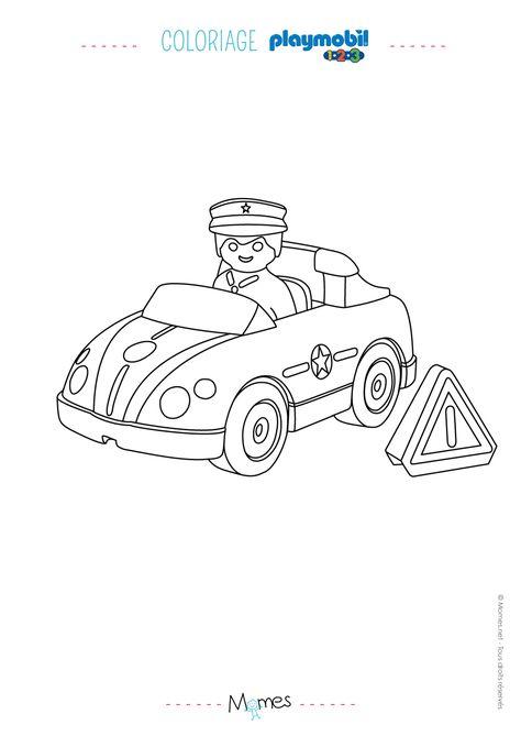 coloriage la voiture de police et le policier playmobil