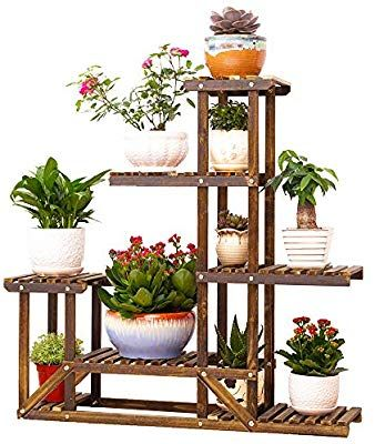Amazon Com Wooden Flower Stands Plant Display Stand Wood Pot