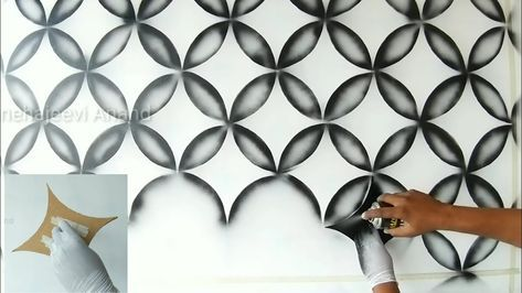 Wall Painting 3d Design Using Black Spray In 2020 Wall Painting 3d Wall Painting Wall Paint Designs