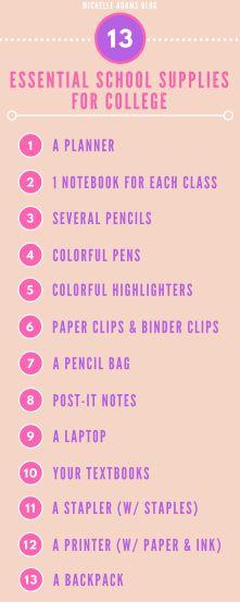 School Supplies For College #bloggingcollege #freshmen #freshman  #university #school #college | The Best Blog Posts | Pinterest | Freshman,  ... Part 66