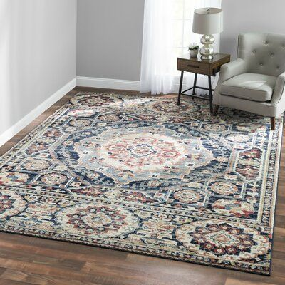Bungalow Rose Negron Medallion Brown Area Rug Area Rugs Rugs Navy Blue Area Rug