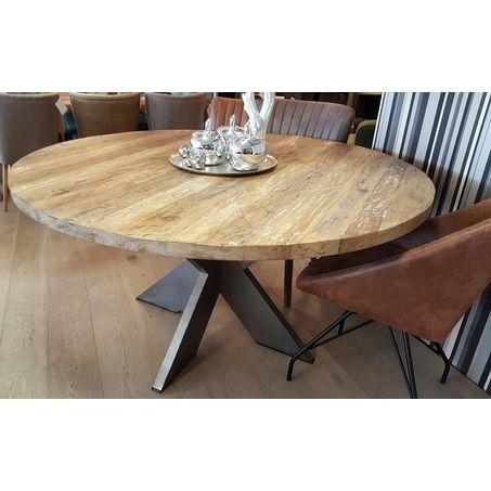 Ronde Tafel Op Metalen Poot.Eettafel Teak Rond 130 140 150 Cm Interior Exterior In