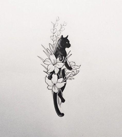 Black cat tattoo design ideas 18