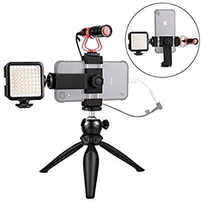 Smartphone Video Microphone Kit With Led Light Phone Holder Tripod Vertical Horizontal Vlog Youtube Filmmaker V Phone Holder Microphone Tripod