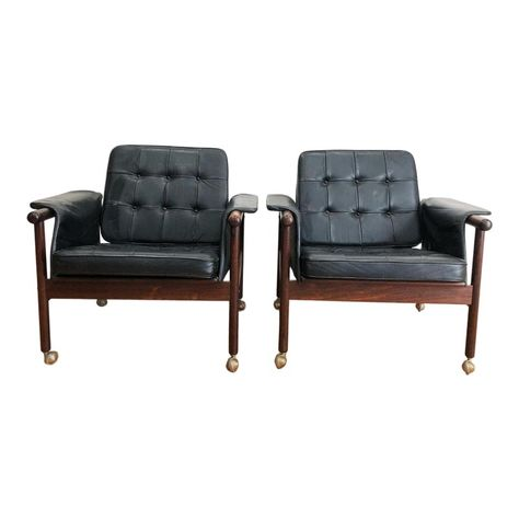 1960s Vintage Illum Wikkelso Rosewood And Leather Wiki Chairs A Pair Chair Club Chairs Eames Lounge Chair