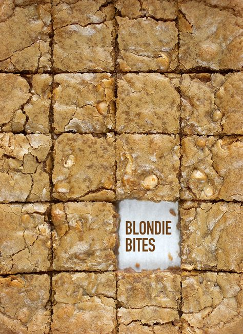 Lazy Day Blondie Bites recipe by Bakerella Simply Recipes, Sweet Recipes, Quick And Easy Sweet Treats, Butterscotch Blondies, Butterscotch Blondie Recipe, Bakerella, Blondie Brownies, Brownie Recipes, Bar Recipes
