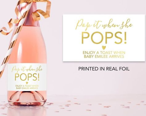 Champagne Baby Shower Tag Pop it when she POPS Gender | Etsy