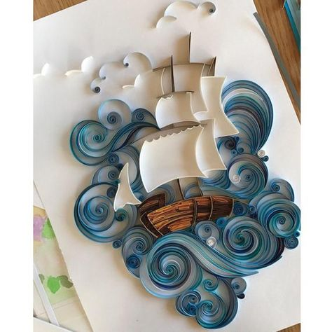 Original 3D wall art was made in the quilling technique. Unique paper art is perfect gift for men, wonderful gift for daddy or husband! Also Quilled sea and paper ship will be unusual gift for any occasion! And such a gift can impress and amaze. Quilling is a painstaking and difficult work. You will