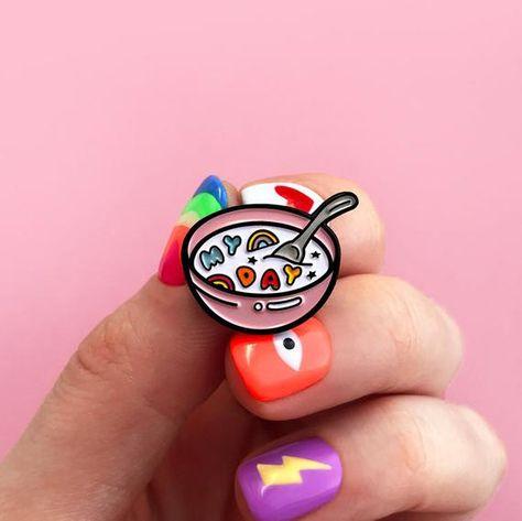 Pink bowl of cereal, enamel pin