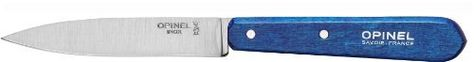 "Box of 2 Opinel Paring Knives No 112 Blue Handle by Opinel. $17.95. Blade: Stainless Steel. Packaging: Boxed. Handle: Dishwasher safe stabilized Hornbeam. Made in France. Size: 3 3/4"" blade. Its thin pointed 3-3/4"" blade is ideal for chopping, peeling, slicing, and paring fruits, vegatables and triming meats. Stabilized hornbeam wood is ultra resistant and enable the washing in a dishwasher."