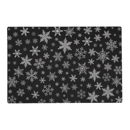 Modern Snowflake 2 Black Silver Grey Placemat Zazzle Com Custom Placemats Printing Double Sided How To Make Breakfast
