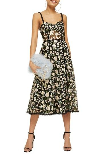 0efb20f3c4f44 Free shipping and returns on Topshop Floral Corset Midi Dress at ...
