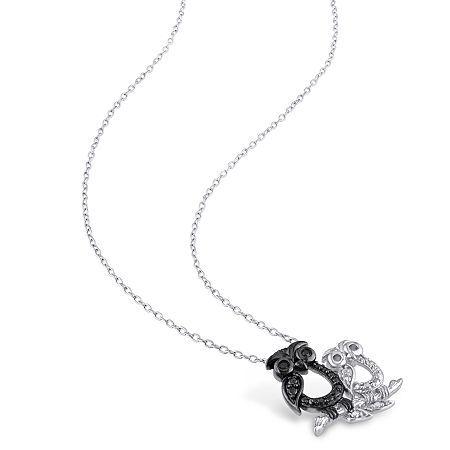 Womens Diamond Accent Genuine Black Diamond Sterling Silver Pendant Necklace Sterling Silver Pendants