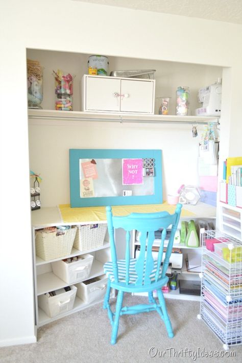 Design a craft room in your bedroom closet. Perfect if you don't have a spare bedroom to convert. - LOVE these colors. So happy!