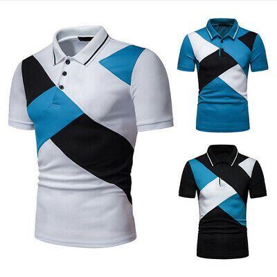 Fashion Men Slim Fit POL Shirts Short Sleeve Casual Plain T-shirt Tees Tops