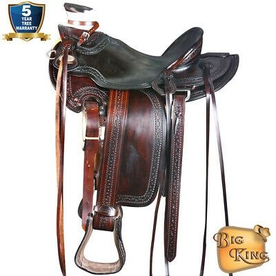 HILASON 15 Western Horse Saddle Leather Wade Ranch Roping
