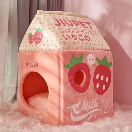 Milk Carton Pet House - Strawberry