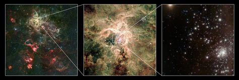 """Zooming in from the Tarantula Nebula to the R136 cluster, with R136a1/2/3 visible as the barely resolved knot at bottom right. The brightest star just to the left of the cluster core is R136c, another extreme massive WN5h star. (Credit: European Southern Observatory/P. Crowther/C.J. Evans) Mona Evans""""How Big Are the Biggest Stars"""" http://www.bellaonline.com/articles/art300366.asp"""