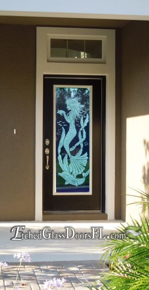 Front Door With Mermaid Holding Turtle Unique Available On Hurricane Impact Or Standard Tempered Glas Etched Glass Door Glass Door Exterior Doors With Glass