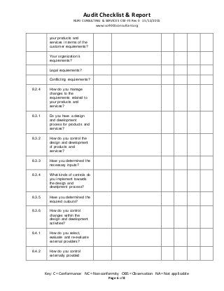 Iso 9001 2015 Audit Checklist Report Audit Checklist