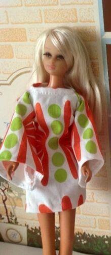 OOAK MADE for Barbie doll MOD wide sleeve dress and purse set Lime Orange