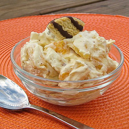 Cookie Salad (my recipe)  1 (3.4 oz) pkg. instant vanilla pudding  1 cup of butter milk  12 oz of cool whip  1 (20 oz) can crushed pineapple undrained  2 small can mandarin oranges, drained  1 can fruit cocktail, drained  1 (11.5 oz) pkg. fudge stripped cookies, crushed (save a few, you want to garnish the salad)    1. In a large bowl, whisk together thepuddingand milk until wellblended. Fold in the cool whip.  Then fold in the fruit and crushed cookies and refrigerate for at least one hour. Garnish with reserved cookies if desired.