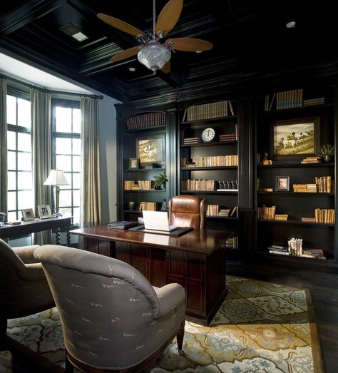 Traditional home office and library with a bay window black custom book case area rug and black stained wood floor. See some of the costs that go into staining by clicking on the Pin. Home Office Setup, Home, Traditional Home Office, House Styles, Cheap Office Furniture, Home Library Design, Office Interior Design, Traditional House, House Painting Cost